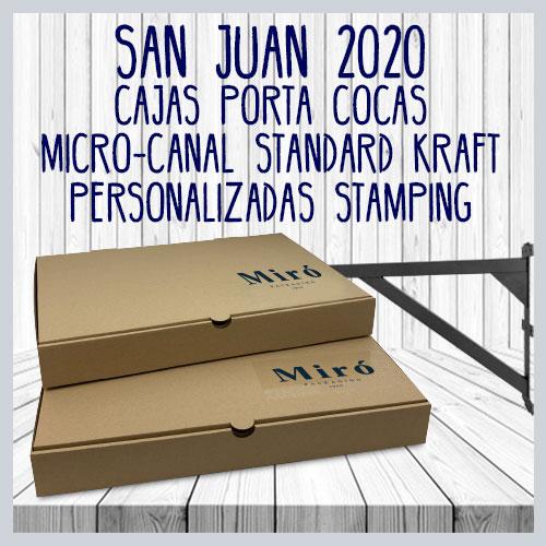 Cajas porta cocas micro-canal kraft con stamping